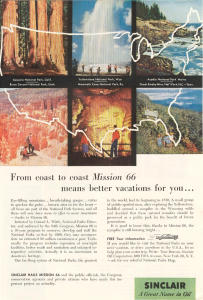 Sinclair Oil Mission 66 National Parks Ad W0380