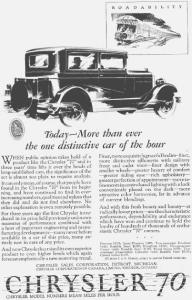 1927 Chrysler 70 2 Door  Motor Car Ad w0404 (Image1)