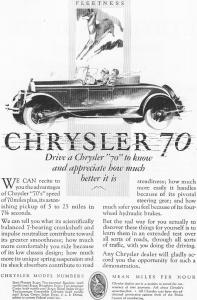 1927 Chrysler 70 Roadster  Motor Car Ad (Image1)
