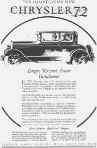 1927 Chrysler 72 2-Door Motor Car Ad (Image1)