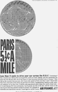 Air France Paris Cents A Mile Ad W0465