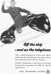 Bell Telephone  WWII  Off The Ship  Ad w0517 (Image1)