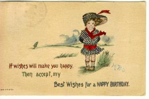 Birthday  Wishes Postcard 1914 (Image1)