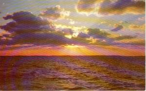 Colorful Sunset Over The Ocean Postcard W0677