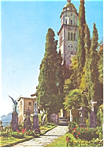 Morcote Switzerland Cemetery and Church Postcard w0820 (Image1)