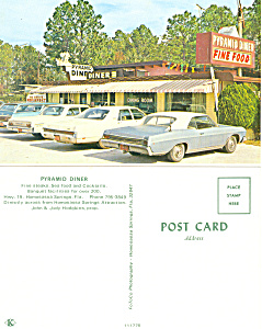 Pyramid Diner,Homosassa Springs, FL Postcard Cars 60s (Image1)