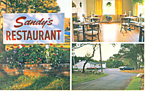 Sandy s Restaurant Sandwich Massachusetts Postcard w0868 (Image1)