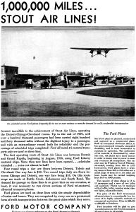 Ford Trimotor Ad Stout Air Lines