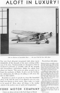 Ford Trimotor Ad Club Plane Ad X0253