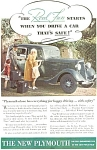 Click here to enlarge image and see more about item ad0040: Plymouth Deluxe Sedan Ad ca 1934