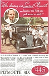 Click here to enlarge image and see more about item ad0041: Plymouth Six  Ad ca 1933