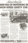 Click here to enlarge image and see more about item ad0059: Plymouth High Speed Safety Car Ad 1935
