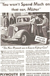 Click here to enlarge image and see more about item ad0060: Plymouth Six Ad 1933