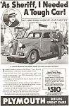Click here to enlarge image and see more about item ad0069: Plymouth  Sheriff's Tough Car Ad 1936