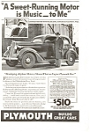 Click here to enlarge image and see more about item ad0070: Plymouth  Sweet Running Motor Ad 1936