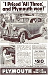 Click here to enlarge image and see more about item ad0071: Plymouth  I Priced All Three Ad ad0071 1936