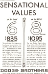 Click here to enlarge image and see more about item ad0092: Dodge 6 and 8 Sensational Values Ad ad0092
