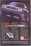 Click here to enlarge image and see more about item ad0106: Dodge Aries Advertisement ad0106 1984