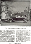 Lincoln V-8 Two Window Town Sedan Advertisement 1932