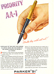 Click here to enlarge image and see more about item ad0283: Parker 51 Pen  Ad 1945