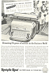 Click here to enlarge image and see more about item ad0309: Remington Rand Electric De Luxe Typewriter Ad ad0309
