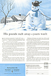 Click here to enlarge image and see more about item ad0437: Met Life Snowman Ad