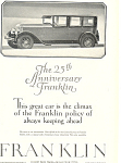 Click here to enlarge image and see more about item ad0464: Franklin 25th Anniversary 1927 Ad ad0464