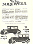 Maxwell  Coupe and  Sedan 1924 Ad