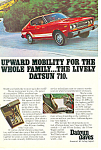Click here to enlarge image and see more about item ad0523: Lively Datsun 710 Ad ad0523