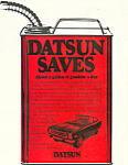 Click here to enlarge image and see more about item ad0527: Datsun saves gas 1973 Ad ad0527