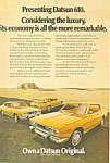 Click here to enlarge image and see more about item ad0532: Datsun 610 Full Line 1973 Ad