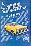 Click here to enlarge image and see more about item ad0534: Datsun 210 MPG  Ad