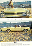 Click here to enlarge image and see more about item ad0548: Pontiac GTO and Le Mans Ad 1965