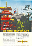 Click here to enlarge image and see more about item ad0610: SS President Hoover to Yokohama Ad ad0610