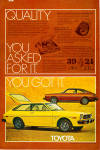 Click here to enlarge image and see more about item ad0764: 1976 Toyota Corolla SR 5 Liftback and Sport Coupe ad0764
