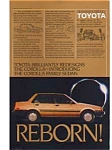 Click here to enlarge image and see more about item auc018405: Toyota Corolla Ad auc018405 Aug 1984