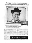 Click here to enlarge image and see more about item auc036126: Zenith TV Red Skeleon Ad Mar 1961