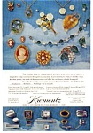Click here to enlarge image and see more about item auc036: Krementz  Jewelry Grape Brooch Ad auc036 1967