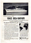 Moore McCormack 1962 Sea Safari Ad auc055 Nov 1961