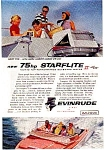 Click here to enlarge image and see more about item auc125907: Evinrude 75hp Starflite Ad auc125907 Dec 1959