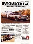 Click here to enlarge image and see more about item auc144: Dodge Ramcharger 2WD  Ad auc144  Mar 1983 Color
