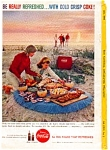 Click here to enlarge image and see more about item auc3316: Coca Cola Beach Scene Ad July 1959