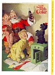 Click here to enlarge image and see more about item auc3320: 1964 Coca Cola Santa with Two Kids Ad auc3320