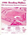 Click here to enlarge image and see more about item b0570: 1986 Reading Phillies 20th Anniv. Program