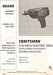 Sears Craftsman 3/8 Electric Drill Manual