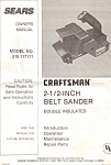 Sears Craftsman 2 1/2 inch Belt  Sander Manual
