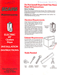 Sears Kenmore Electric Dryer  Instructions bnf0003