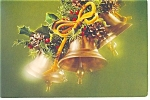 Christmas Holly and Bells Postcard 1980