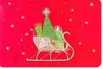 Christmas Sleigh and Gifts Postcard 1982
