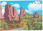 Click here to enlarge image and see more about item cs0054: Spires, Garden Of The Gods, CO Postcard